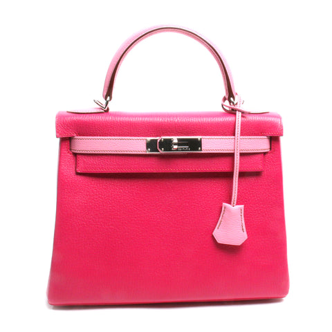 Authentic Hermes Horseshoe Fuchsia & Pink Chevre Kelly Bag