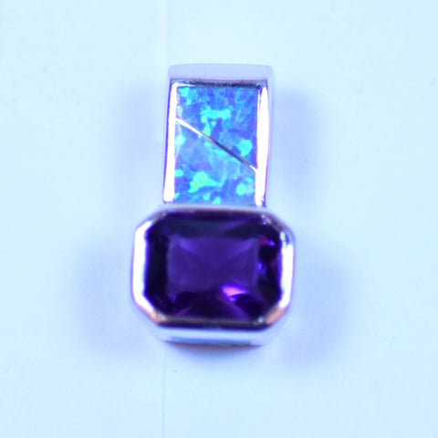 Sterling Silver Square Amethyst and Opal Rectangle Pendant