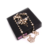 Chanel Collier Faux Pearl Crystal Flower Necklace