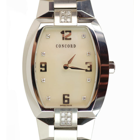 Concord La Scala Tonneau Diamond Stainless Steel Ladies Watch