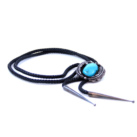Native American Southwest Men's Silver and Turquoise Bolo Tie