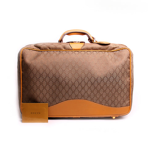 Gucci Vintage Tan GG Supreme Canvas Carry-on Suitcase