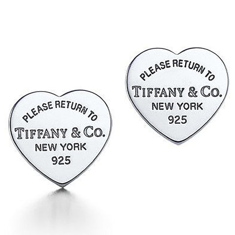 "Tiffany & Co. Heart Tag Sterling Silver ""Please Return To"" Earrings"