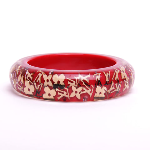 Louis Vuitton Red Acrylic Inclusion Bangle