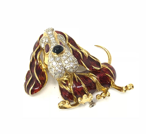 Frascarolo – Basset Hound dog lapel pin/brooch – 18 kt gold, enamels, diamonds, onyx, and rubies