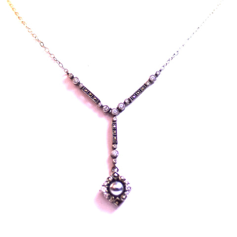Replica Sterling Silver Cubic Zirconia and Pearl Diamond Shaped Pendant Necklace