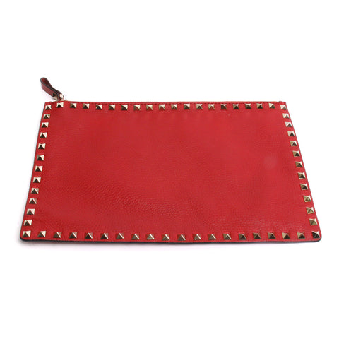 Valentino Rockstud Red Grained Leather Flat Zip Pouch