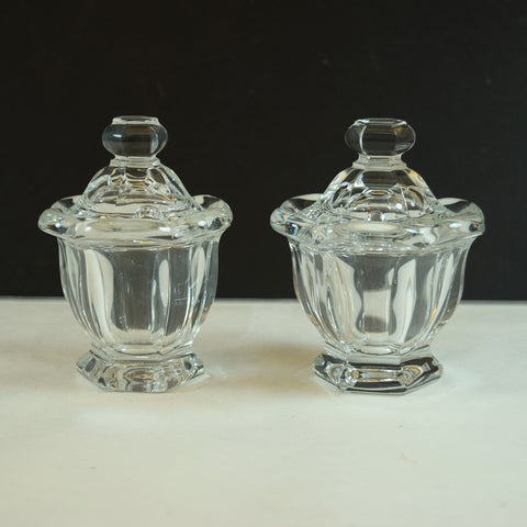 Baccarat Crystal Glass Mustard Jam Jelly Jars Set of 2