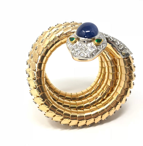 A. Codognato 1950 Large Sapphire, Diamond, and Emerald Gold Serpent Bracelet