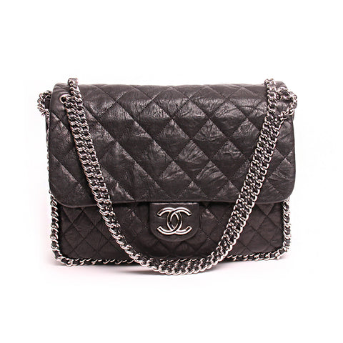 Chanel Black Quilted Distressed Lambskin Chain Around Maxi Flap Bag