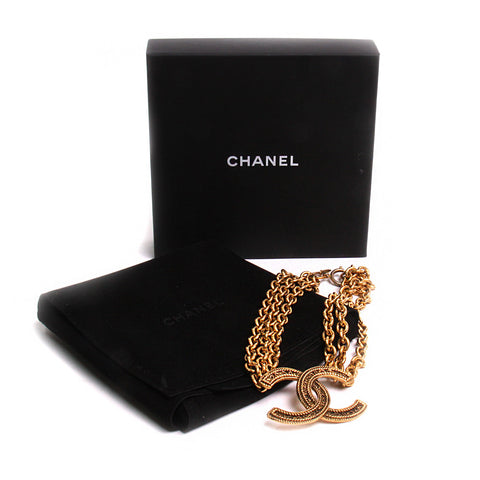 Vintage Chanel Gold Tone Triple Link CC Necklace