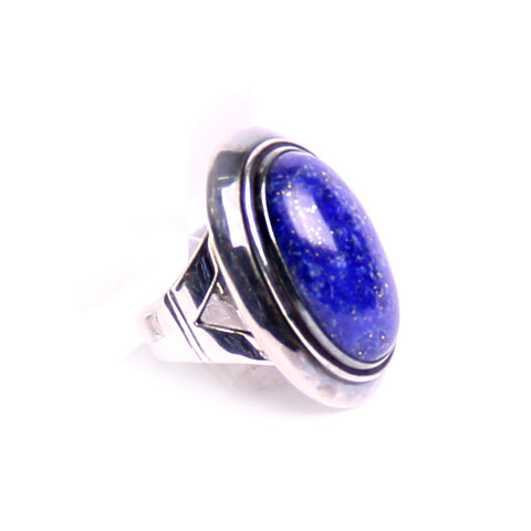 Lapis Lazuli Sterling Silver Ring Size 9