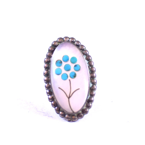 Sterling Silver Mother of Pearl and Turquoise Inlay Flower Ring, Size 6.75