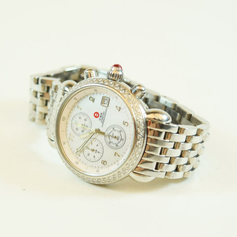 Michele Csx Diamond Bezel Mop Face Chronograph Wrist Watch