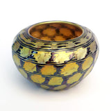 1996 Lundberg Studios Iridescent Aurene Indian Basket Design Bowl