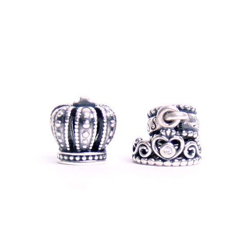 Sterling Silver Pandora Charms of crown fit for king & a tiara fit for a princess