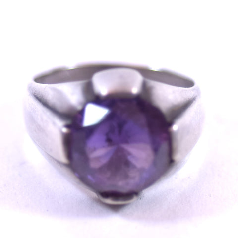 Sterling Silver Jewelry Ring with Purple Crystal Stone, Size 9