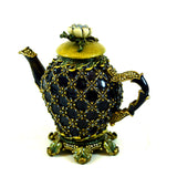 Jay Strongwater Limited Edition Teapot Swarovski Crystal Clock