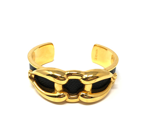 HERMES Black Leather Gold Tone Cuff OpencBracelet