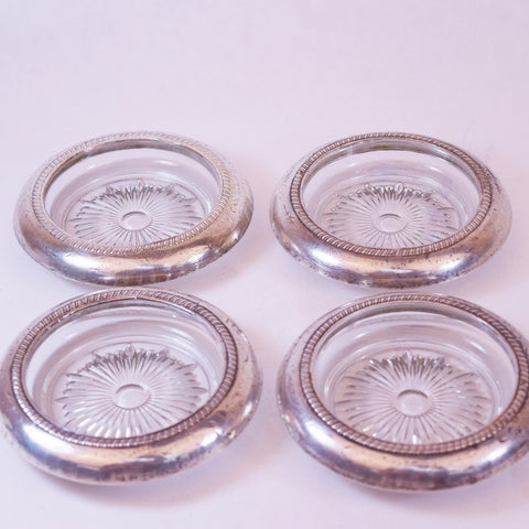 Sterling Silver-Rimmed Crystal Cup Holders, Set of 4