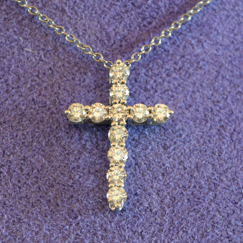 Tiffany and CO 950 Platinum 0.42CT Diamond Cross Pendant with Platinum Necklace Chain