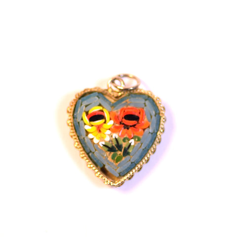 Colorful Brick Floral Heart Charm Pendant