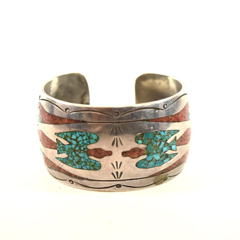 Native American/ Southwest Turquoise and Coral Chip Inlay Cuff