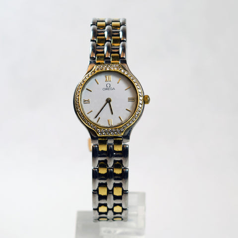 Omega DeVille Gold and Silver Two Tone White Faced Ladies Watch