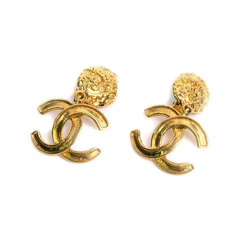 Vintage Chanel Gold Tone CC Logo Earrings