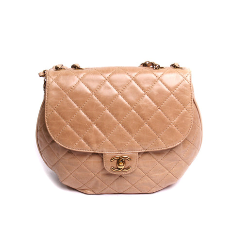 Chanel Beige Quilted Aged Calfskin Flap Messenger Bag