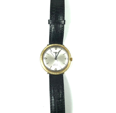 Vintage Longines Automatic Admiral 14K Gold Diamond Watch
