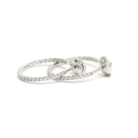 Tiffany & Co. 18k White Gold Diamonds Inside out Hoop Earrings