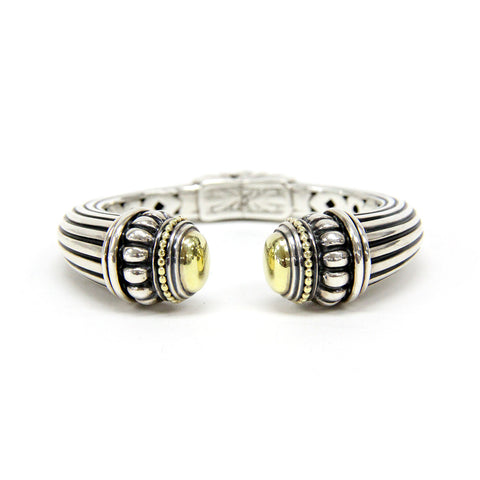 "Lagos Caviar 18K Yellow Gold & Sterling Silver Hinge Cuff Bangle 6"" Bracelet"