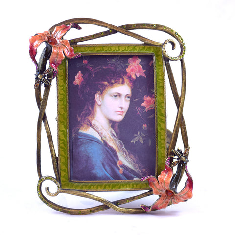 Jay Strongwater Collectible Miniature Picture Frame with Red Orchid Flowers, Bees, and Colorful Crystals