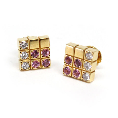 Cartier Lanieres Piet Pink Sapphire & Diamond 18k Gold Earrings