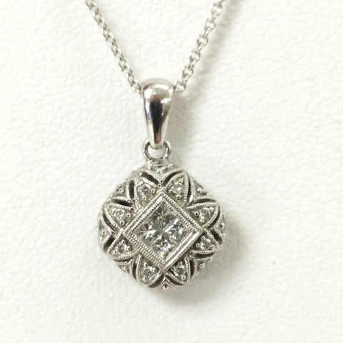 14 Karat White Gold and Diamond Square Pendant Necklace