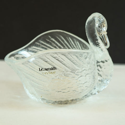 L. E. Smith Crystal Glass Swan Dish