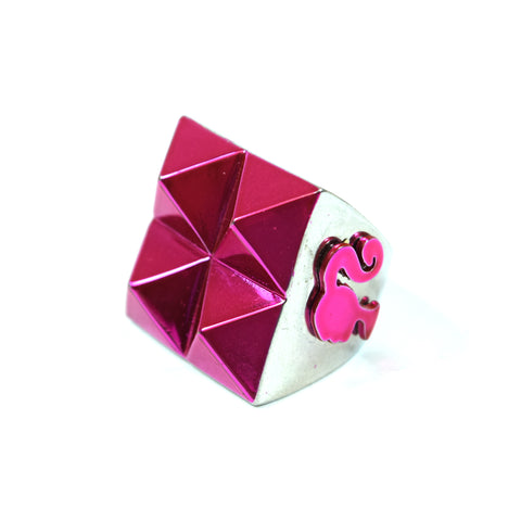 Pink Pyramid and Plated Silver Barbie Ring, Size 7.75