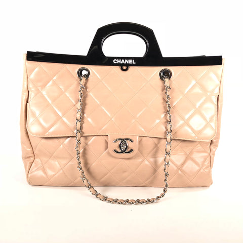 CHANEL Glazed Calfskin Quilted Large CC Delivery Tote Light Pink