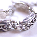Silver Four-Link Chain Bracelet with Eight Clear Stones