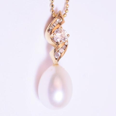 14K Yellow Gold & Pearl Drop Pendant Necklace w/ .25 ct Diamonds