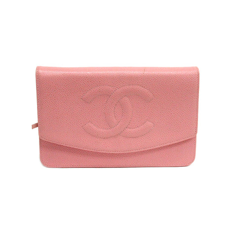 Chanel Pink Caviar Leather Timeless Wallet on Chain WOC Clutch