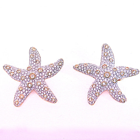 Goldtone Clip on CZ Starfish Costume Earrings