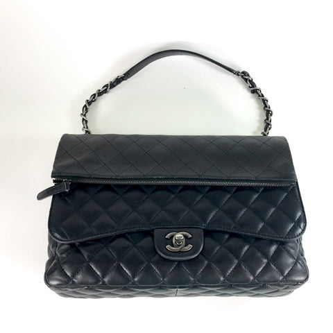 "CHANEL Black Lagerfeld Calfskin ""IN THE MIX"" Double Flap Bag"