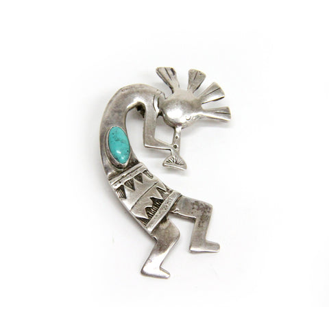 Sterling Silver Navajo Turquoise Kokopelli Necklace Pendant 2.5""