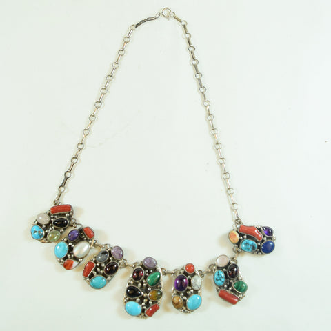 Sterling Silver and Multi Color Multicolor Stone Native American Necklace
