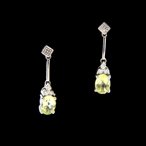 14k white gold lemon citrine dangle drop earrings