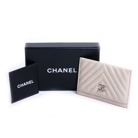 Chanel Beige Leather Wallet / Credit Card Holder Still in Box