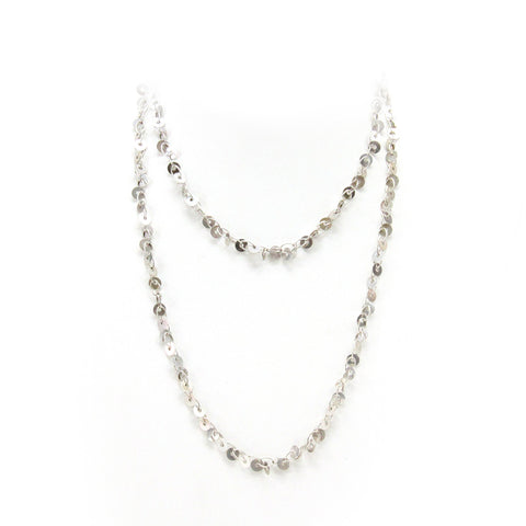 Splendori of Milan Long Sterling Silver Sequin Chain Necklace