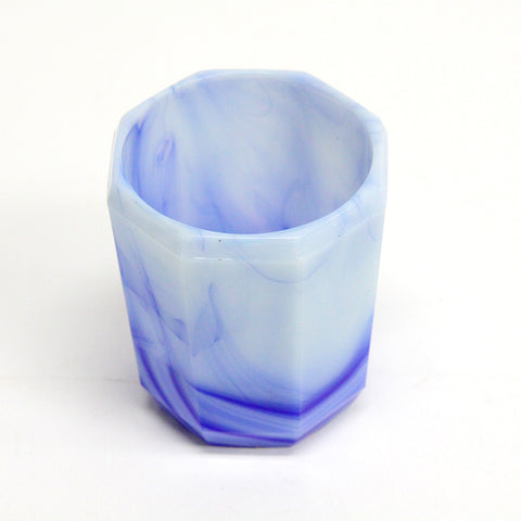 Vintage Blue and White Small Octagonal Glass Cup